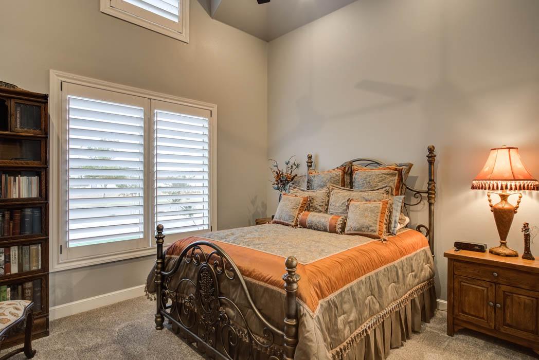 Spacious bedroom in custom home in Lubbock, Texas.