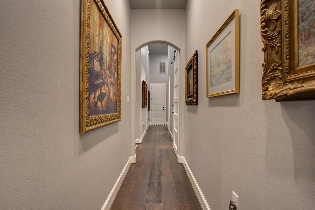 Hallway in custom home built in Lubbock, Texas.