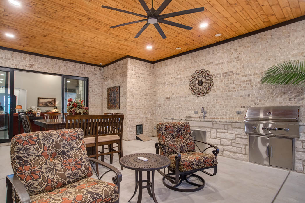 Outdoor covered patio in Lubbock home.