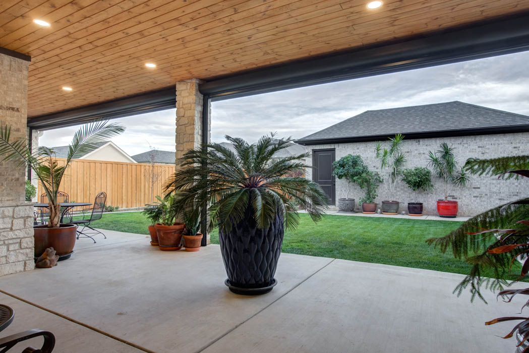 Beautiful covered patio space to enjoy outdoor living in Lubbock.