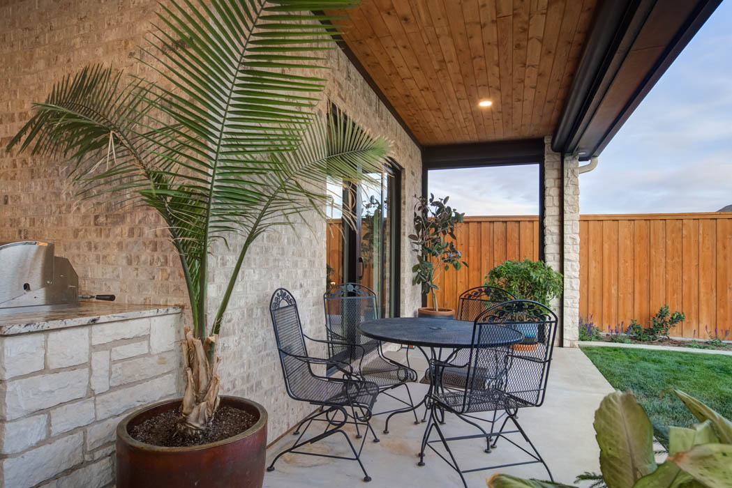 Spacious back patio in custom home in Lubbock, Texas.