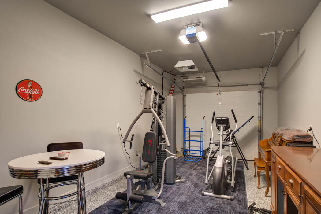 Extra garage space in custom home.