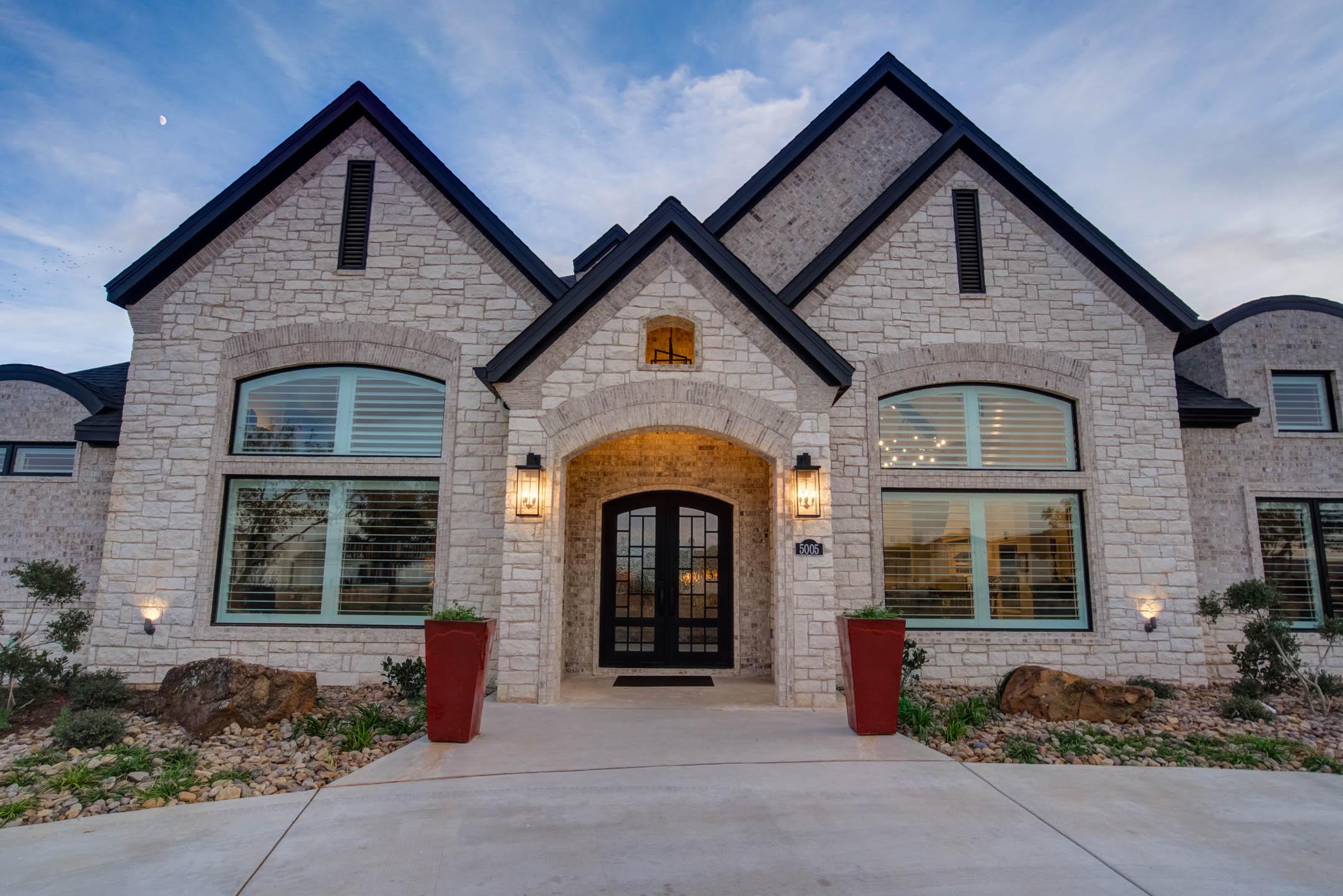 Alternate view of beautiful custom home exterior built in Lubbock, Texas.