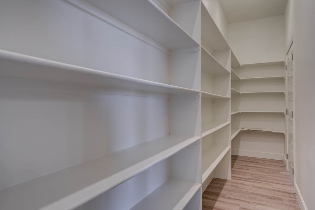 Spacious pantry in new house for sale in the Lubbock, Texas area.