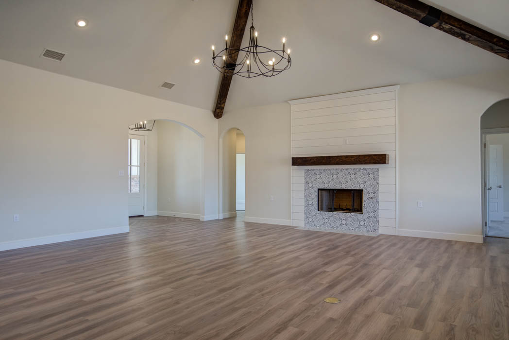 Spacious living room in beautiful new home in the Lubbock, Texas area.