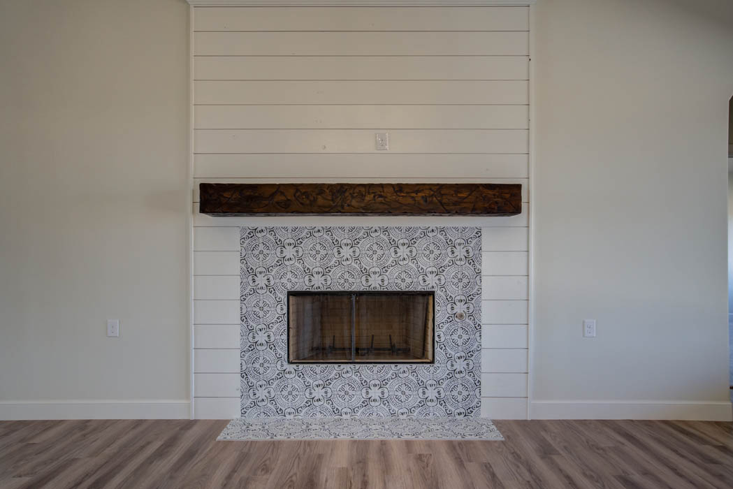 Beautiful fireplace in new home for sale in the Lubbock, Texas area.