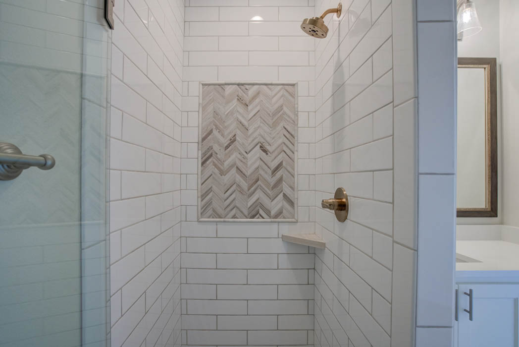 Shower in bath in beautiful new home for sale in the Palms at Kitty Hawk, near Lubbock.