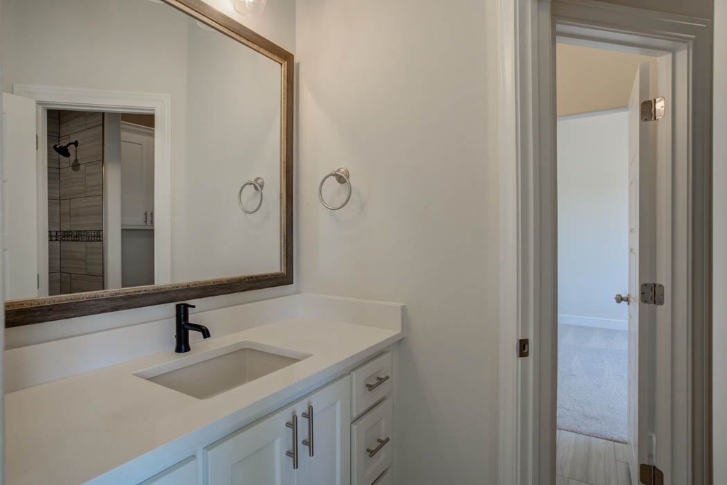 Bath in new home for sale near Lubbock, Texas.
