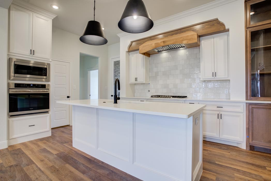 Example of spacious, beautiful kitchen in new home built by Sharkey Custom Homes in Lubbock, Texas.