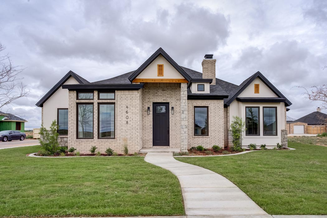 Example of amazing outdoor exterior of new home built by Sharkey Custom Homes in Lubbock, Texas.