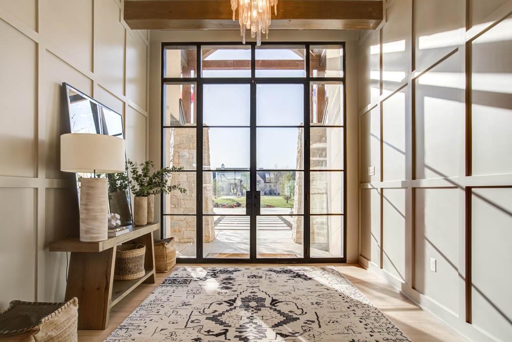 Entry foyer of custom home near Lubbock, Texas.