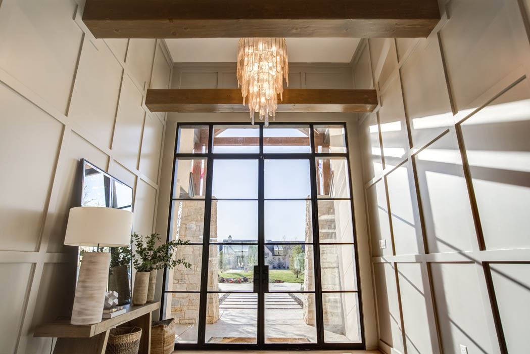 Entry foyer of custom home.