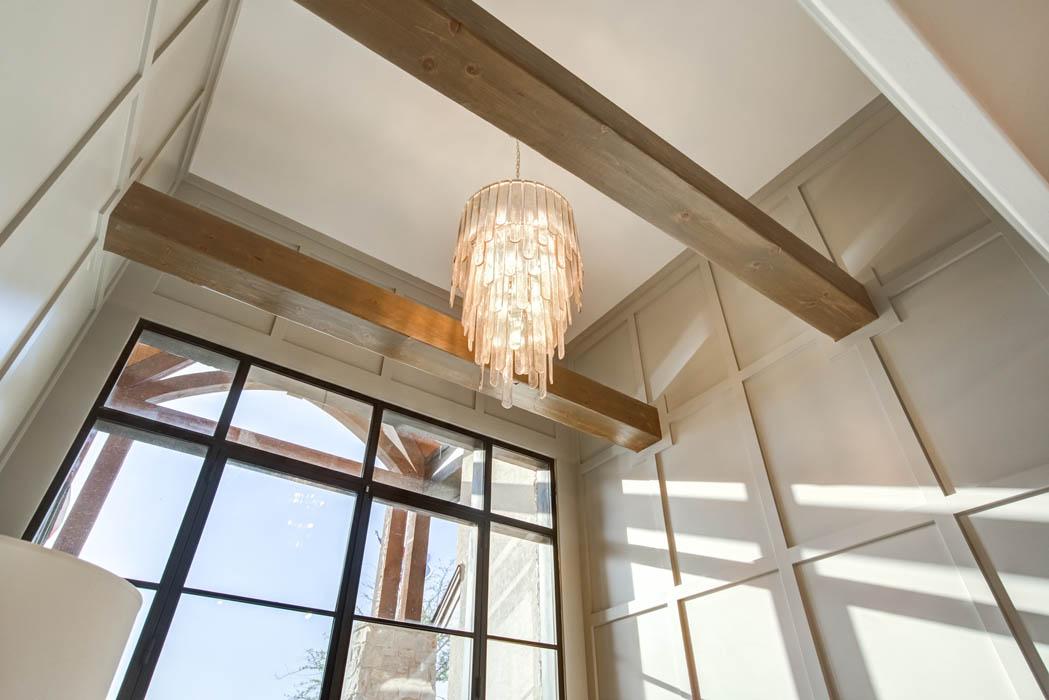 Entry foyer ceiling detail of custom home near Lubbock, Texas.