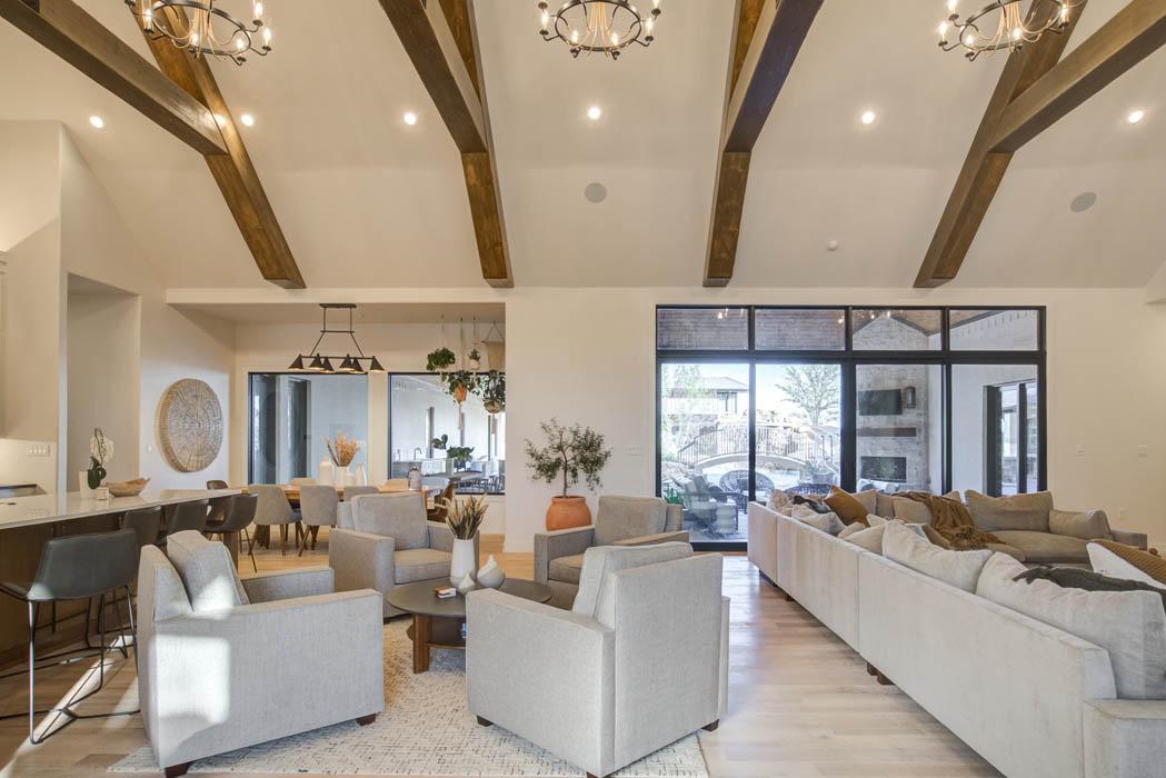 Spacious living area in custom home near Lubbock, Texas.
