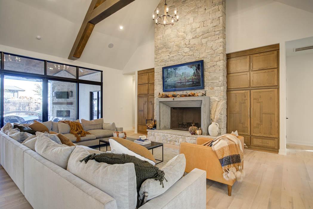 Beautiful living area in custom home near Lubbock, Texas.