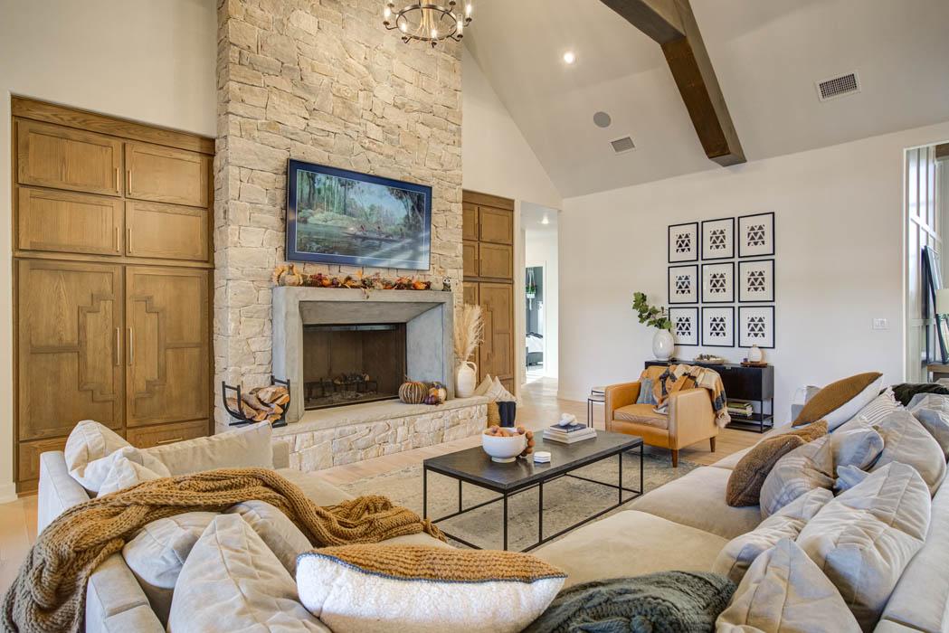 Lovely living room in custom home near Lubbock, Texas.