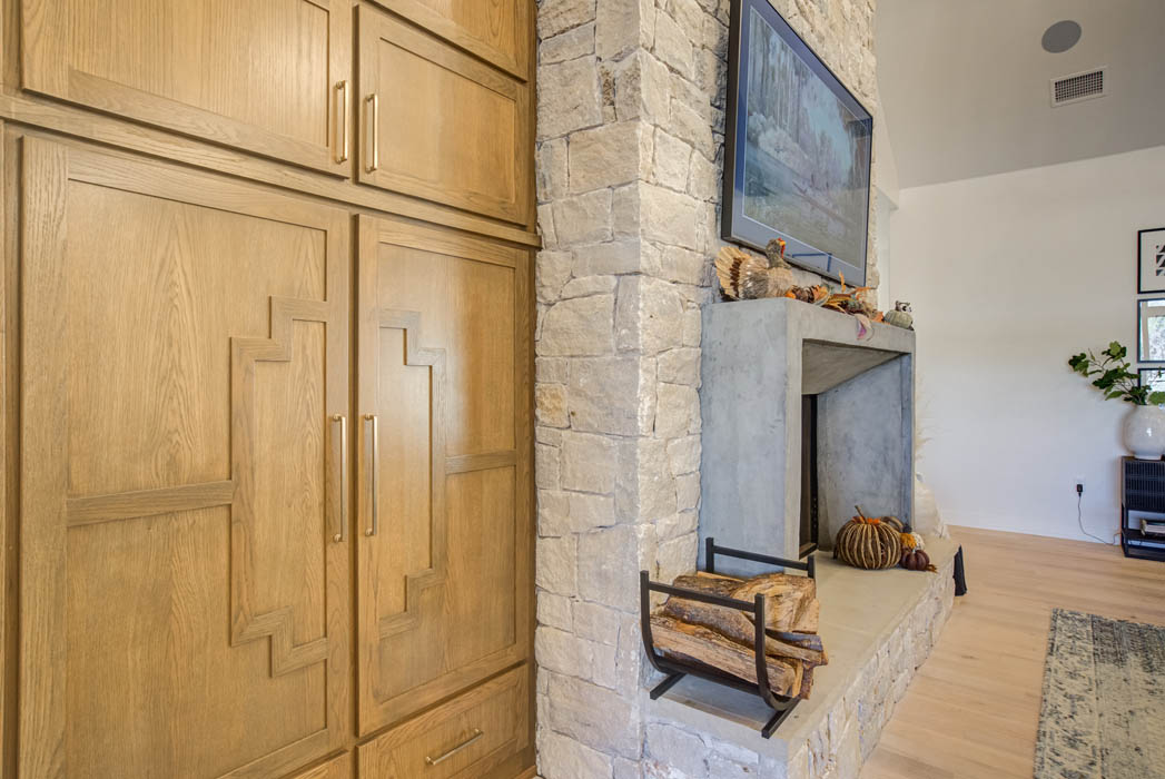 Built-in cabinet detail in living area of custom home near Lubbock.