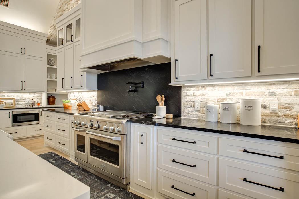 Spacious kitchen in custom home built near Lubbock, Texas.