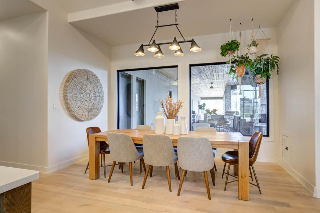 Beautiful dining area in custom home near Lubbock, Texas.
