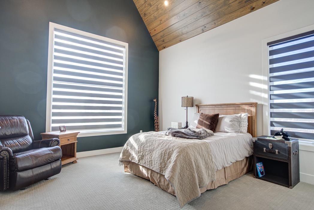 Beautiful bedroom in home built by Sharkey Custom Homes in the Lubbock area.