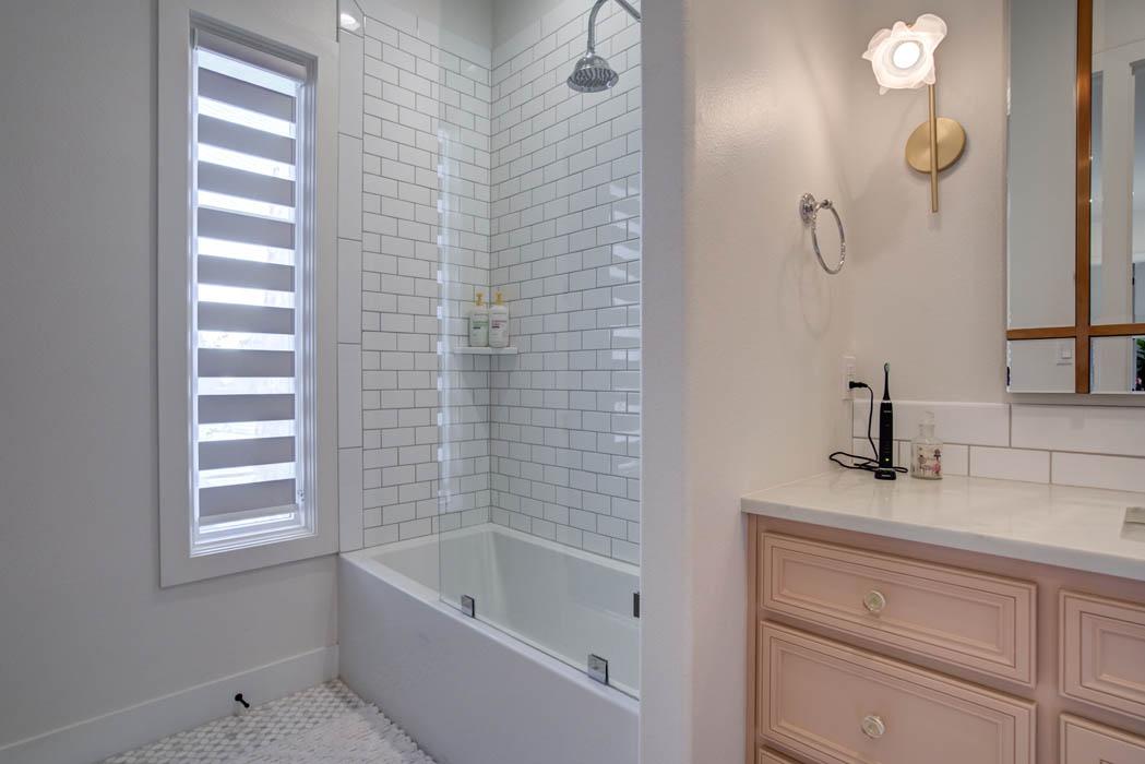 Shower in bath of custom home near Lubbock.
