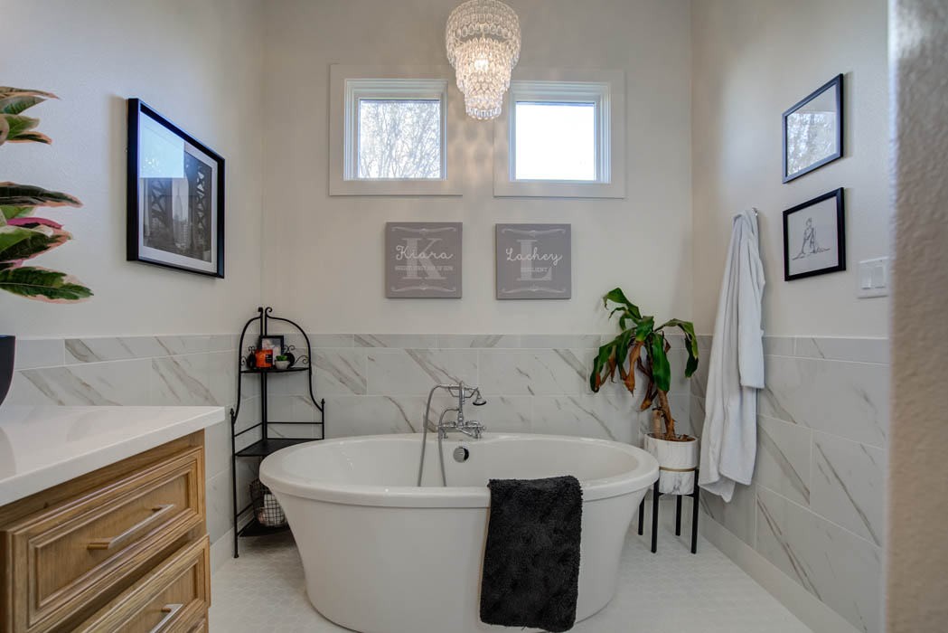 Bath with specialty tub in beautiful custom home in Lubbock.