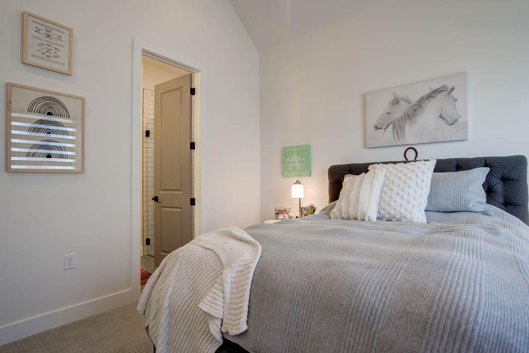 Beautiful bedroom in custom home.