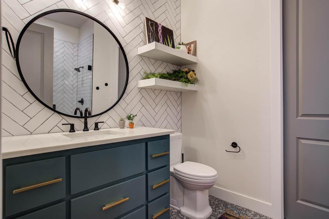 Vanity in master bath of custom home near Lubbock, Texas.