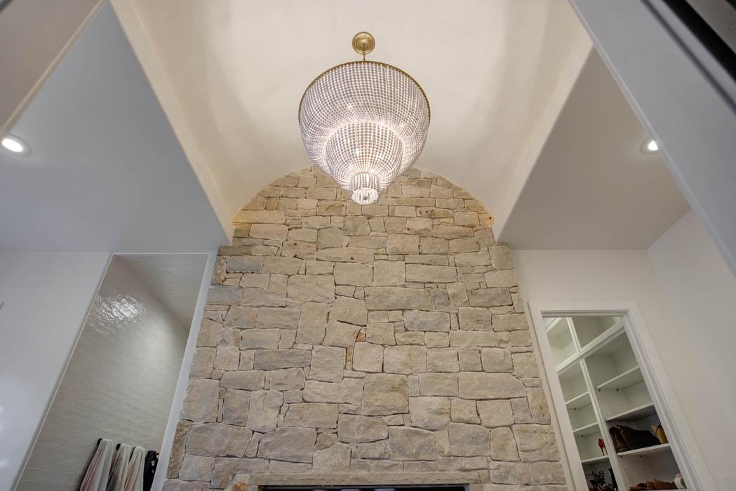 Master bath speciality ceiling, in custom home near Lubbock, Texas.