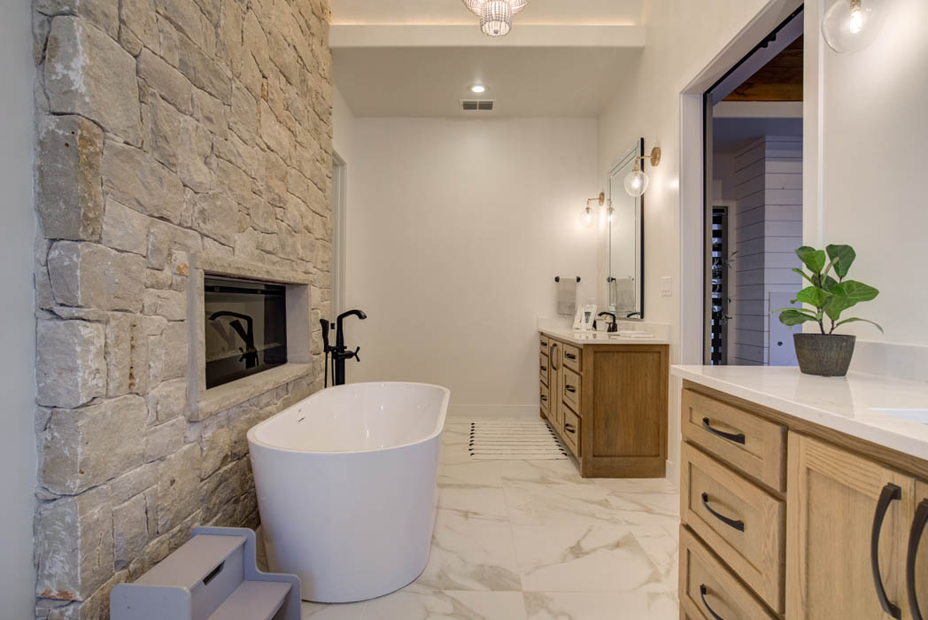 View of spacious master bath in custom home near Lubbock, Texas.