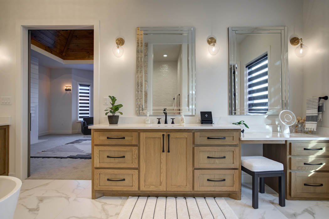 View of vanity in master bath of custom home near Lubbock.