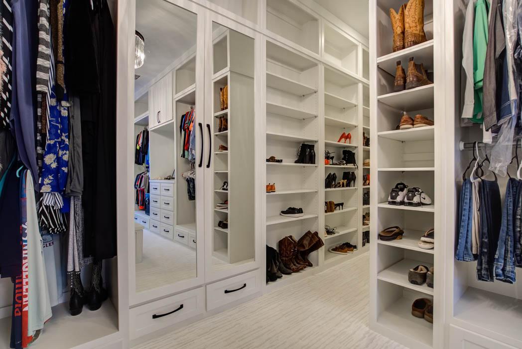 Incredible master closet in Lubbock custom home.