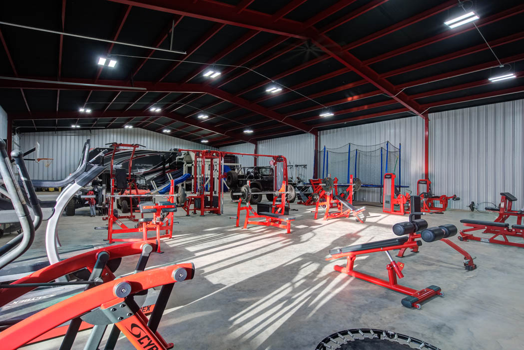 Expansive workout space in custom home near Lubbock, Texas.
