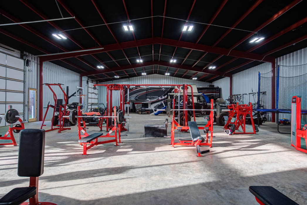 Alternate view of expansive workout space in custom home near Lubbock, Texas.