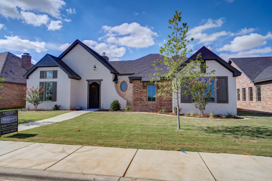 Long view of front of new home in Lubbock.