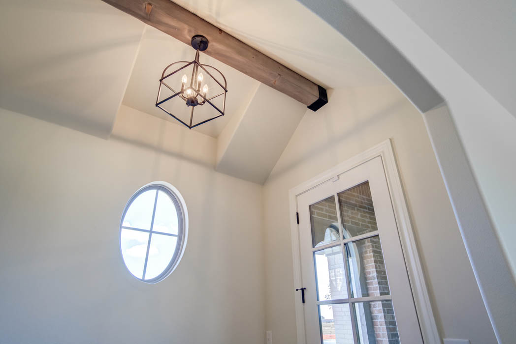 Detail of entry-foyer ceiling in new Lubbock, Texas home for sale.