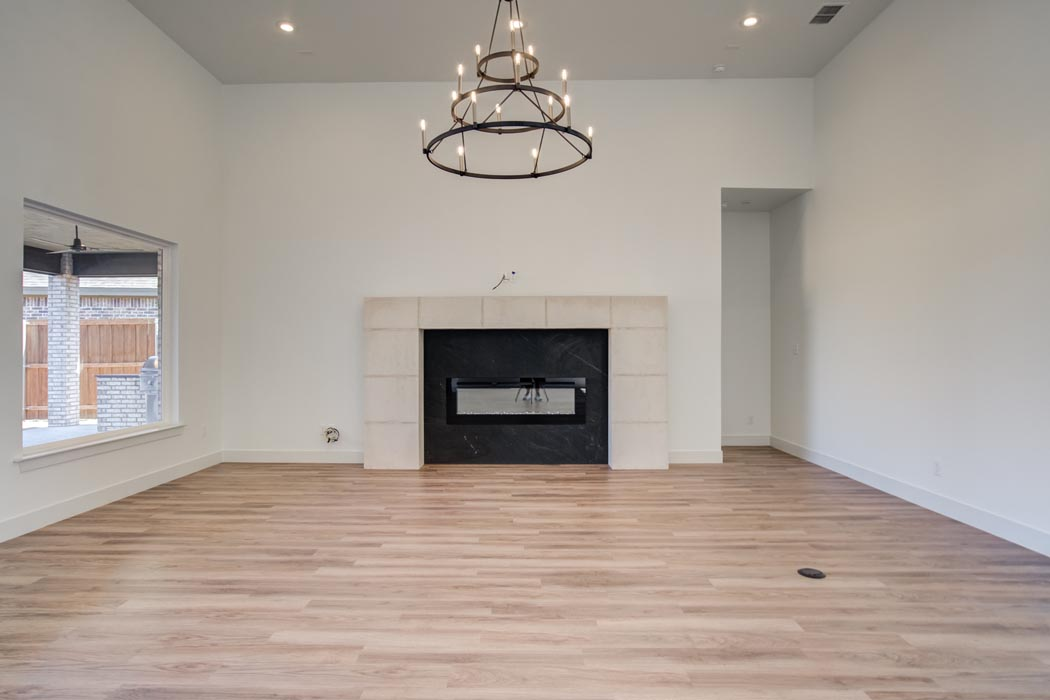 Spacious living room in home in Lubbock, Texas.
