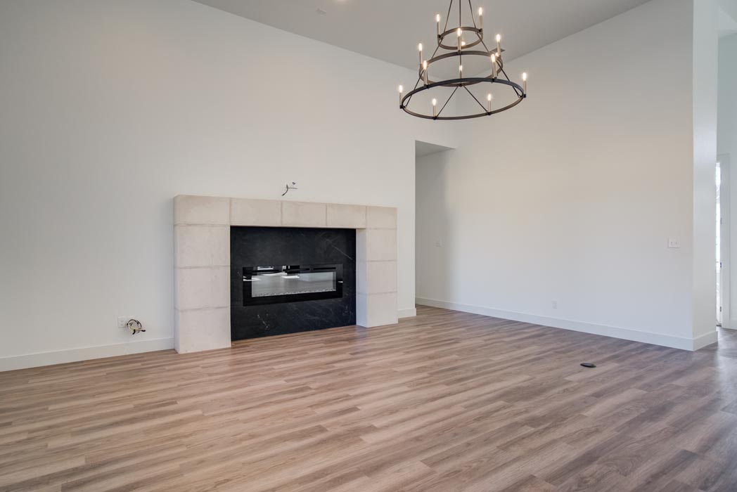 View of comfortable, spacious living area in new Lubbock home.