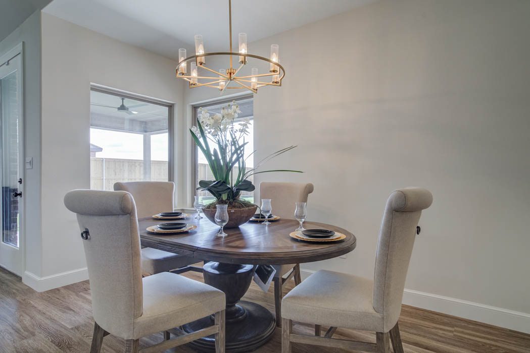 Spacious dining room in home for sale in Lubbock, Texas.