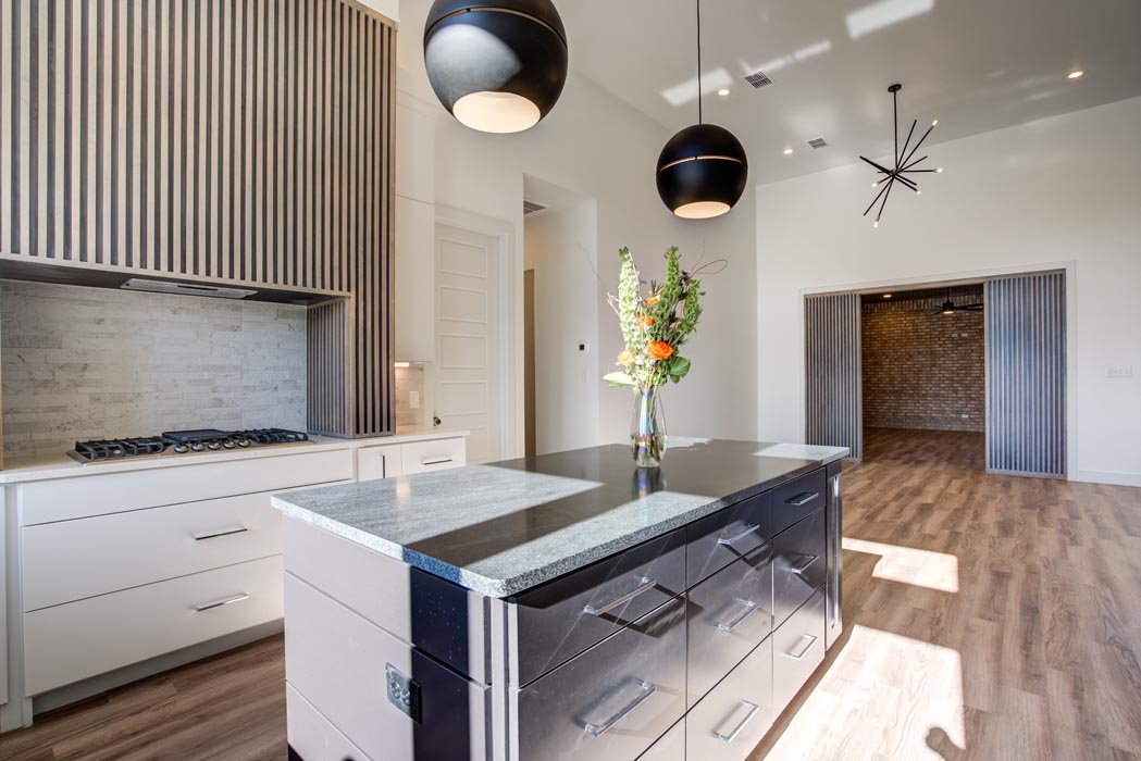 View of kitchen with island in amazing new Lubbock home.