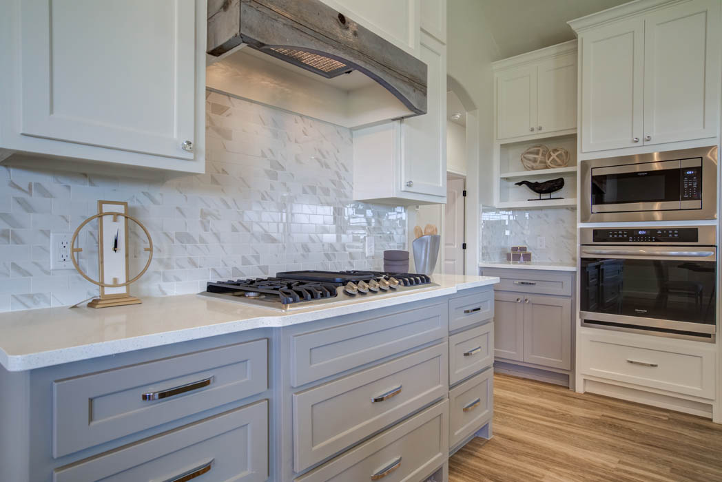 Detail of beautiful kitchen stove in new home for sale, in Lubbock, Texas.