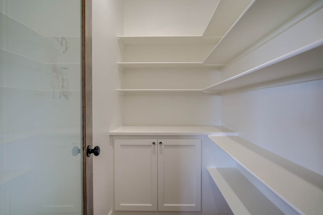Spacious kitchen pantry in new home for sale in Lubbock.