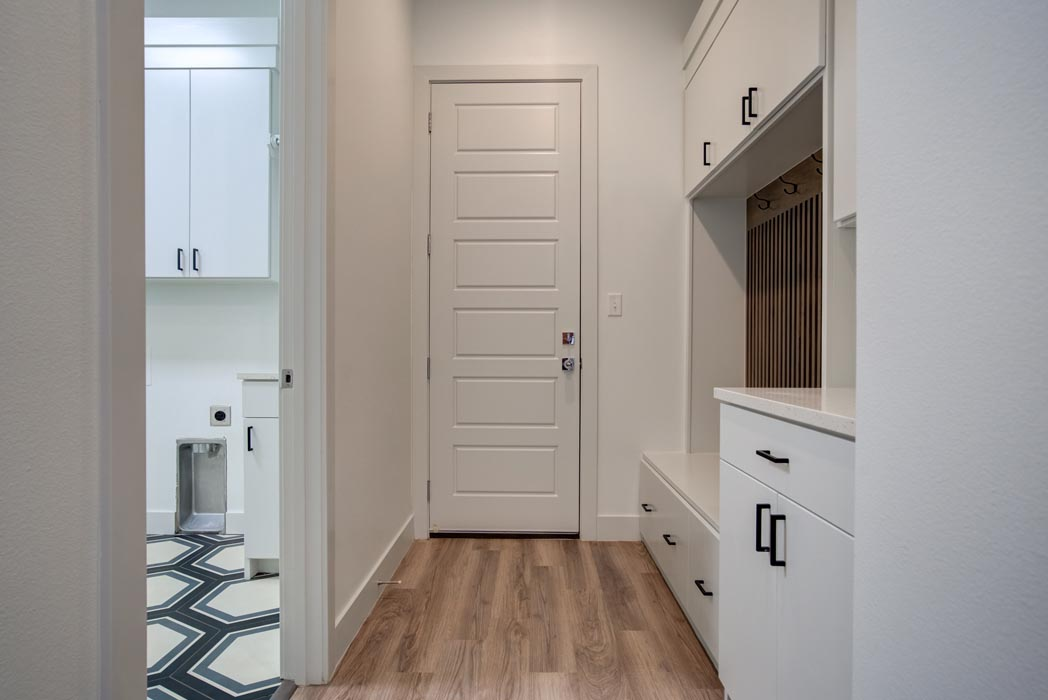 Laundry-mud room area in new home in Lubbock.