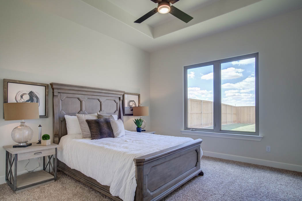 Spacious master bedroom in new Lubbock home.
