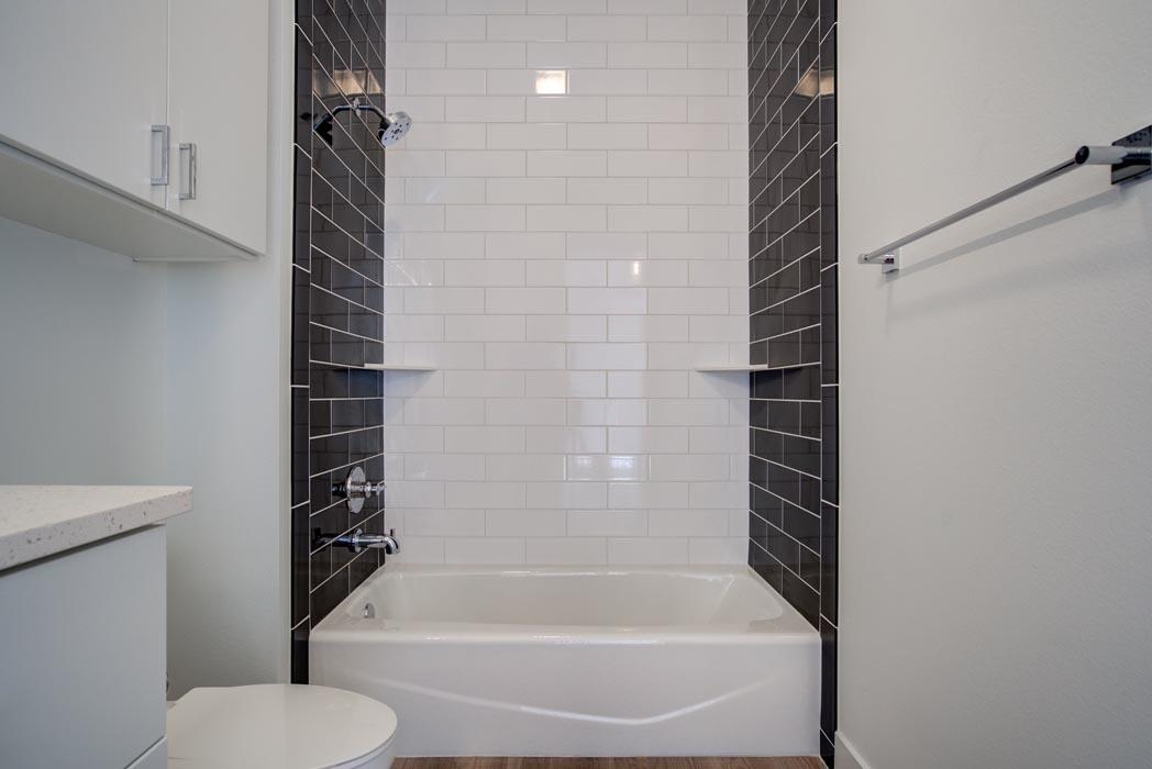 Secondary bath in beautiful custom home in Lubbock, Texas.