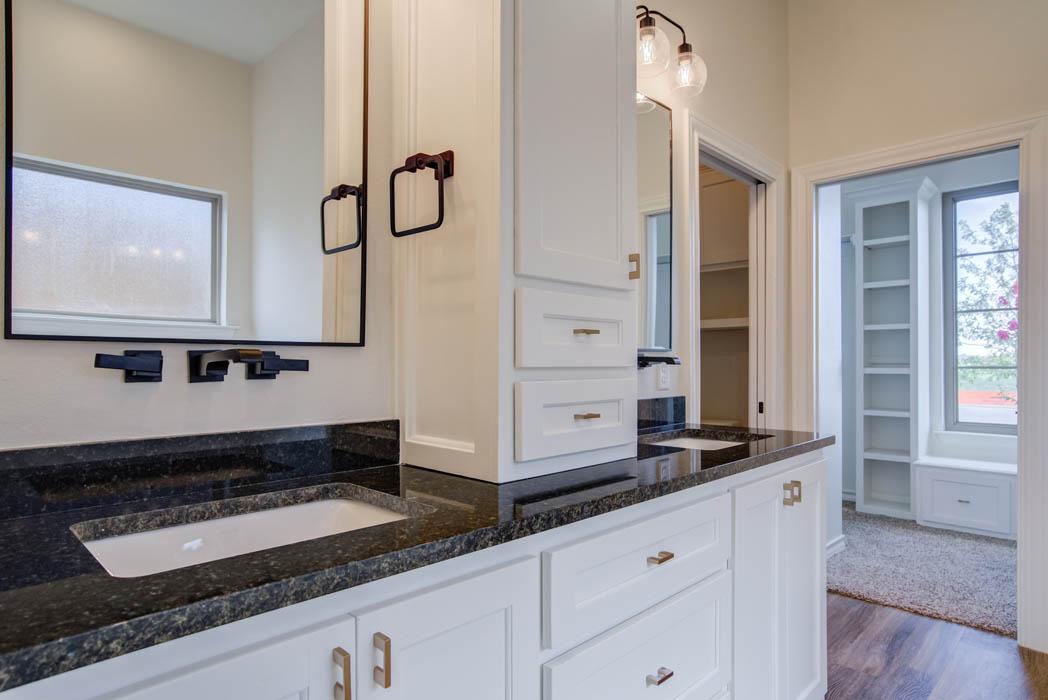 Detail of vanity in master bathroom in new Lubbock home for sale.