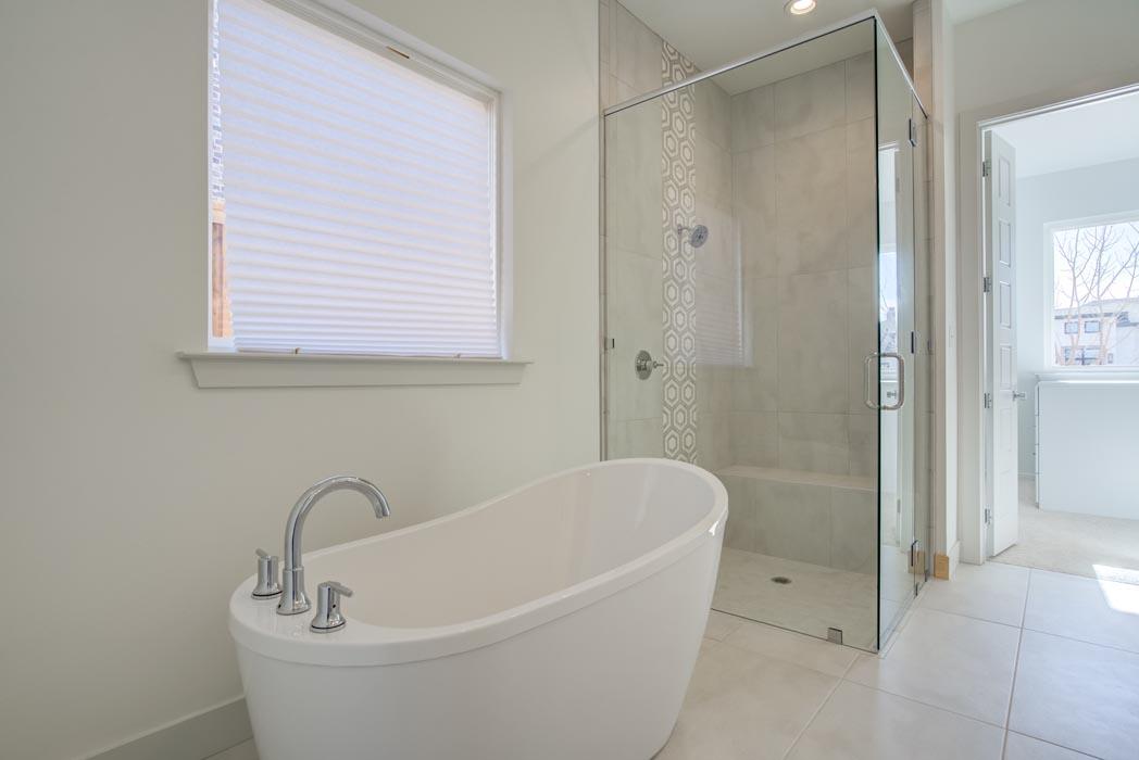Custom tub in amazing master bath, in custom home in Lubbock.