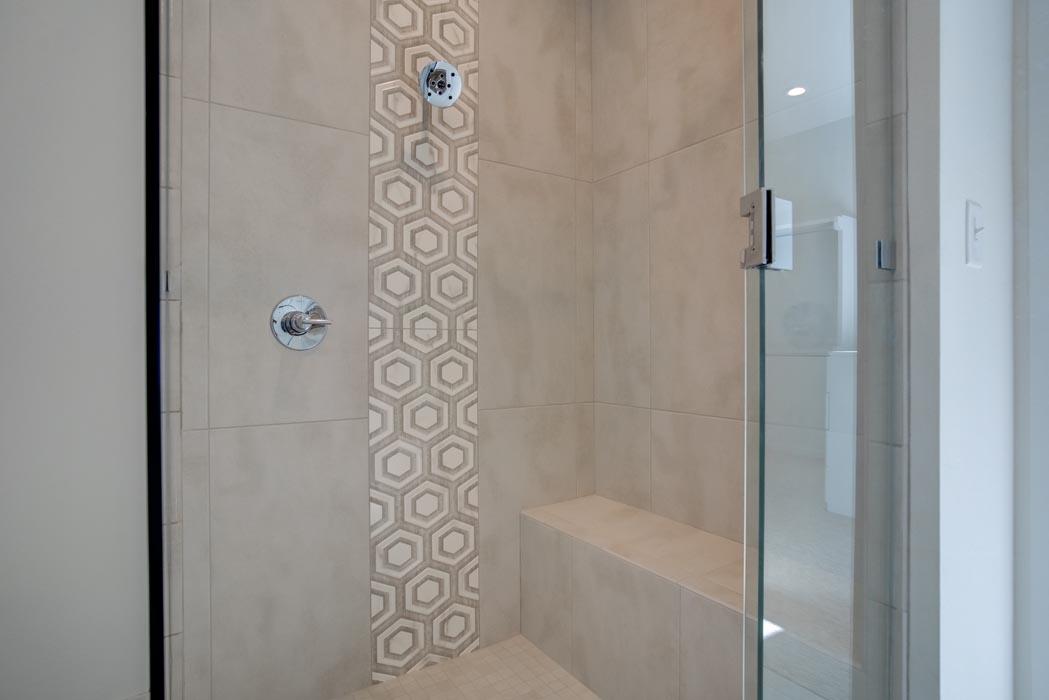 Beautiful walk-in shower in master bath of home built in Lubbock, Texas.