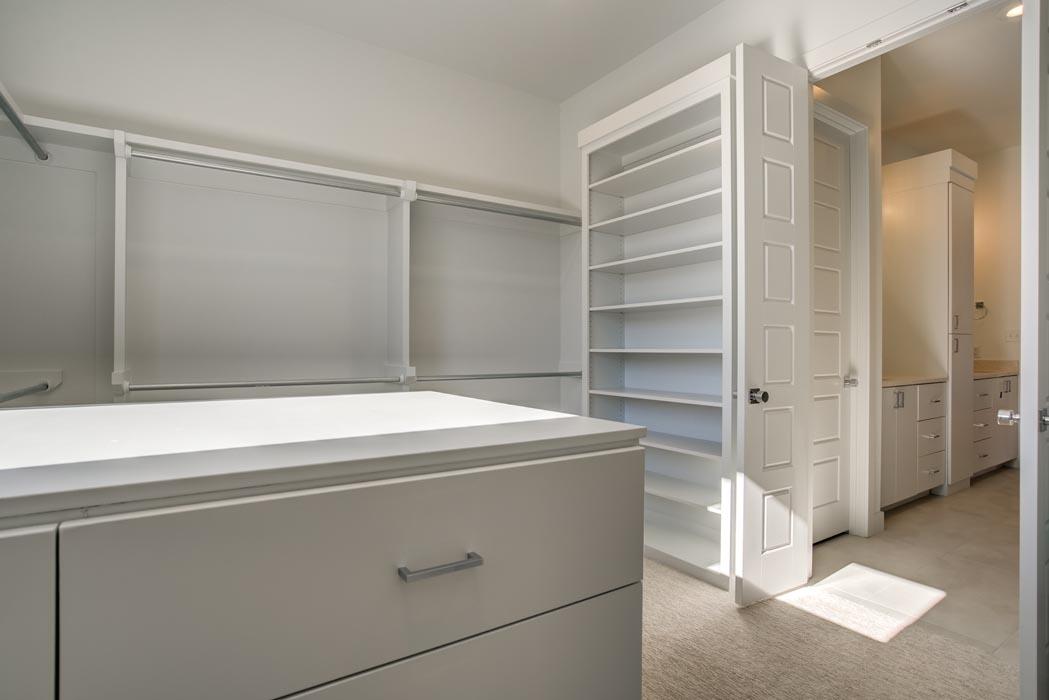 Master closet of master bedroom in beautiful custom Lubbock home.