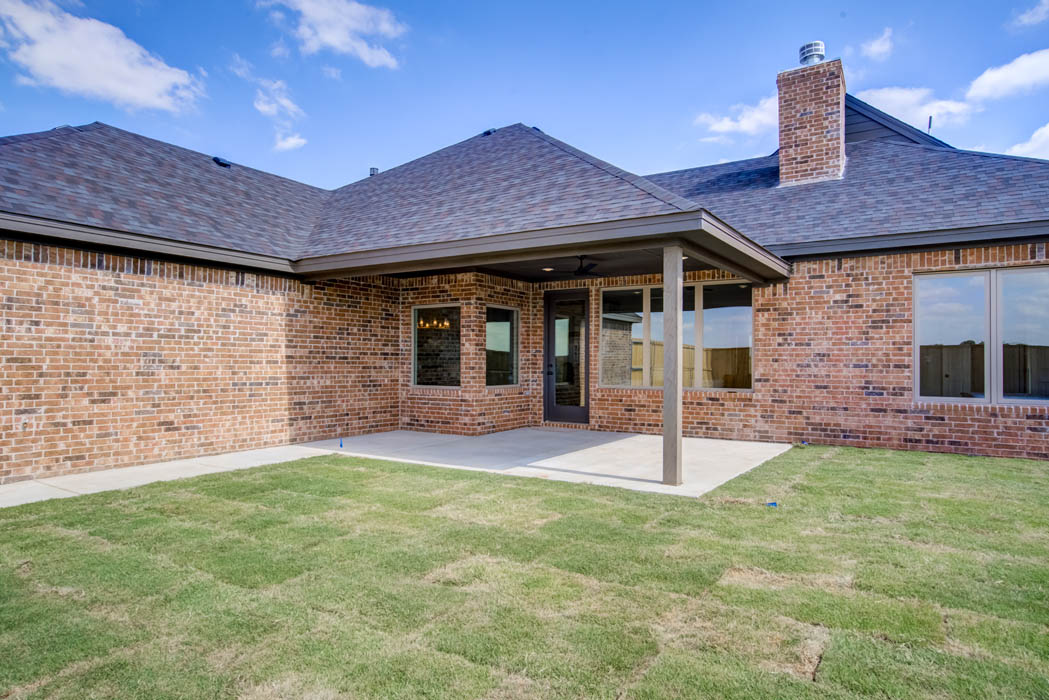 Back patio in new home for sale in Lubbock, Texas.